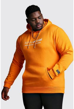Mens Orange Big And Tall Man Official Woven Badge Hoodie