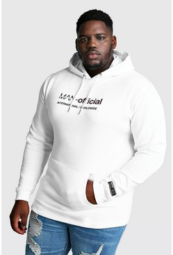 Mens White Big And Tall MAN Official Woven Badge Hoodie