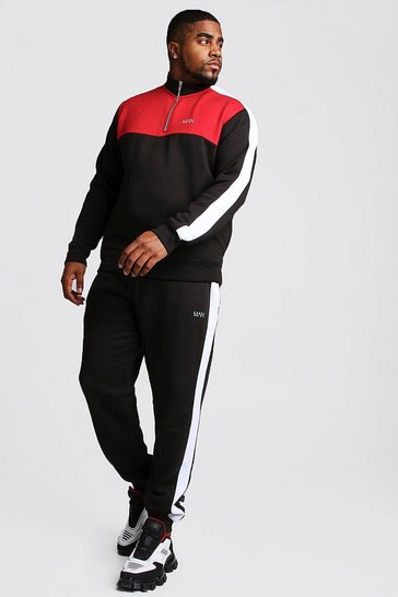 Mens Black Big And Tall Half Zip Colour Block Tracksuit