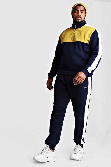 Mens Navy Big And Tall Half Zip Colour Block Tracksuit