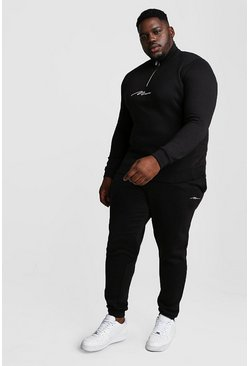 Mens Black Big and Tall MAN Script Funnel Tracksuit