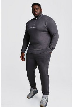 Charcoal Big and Tall MAN Script Funnel Tracksuit