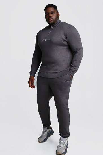 Mens Charcoal Big and Tall MAN Script Funnel Tracksuit