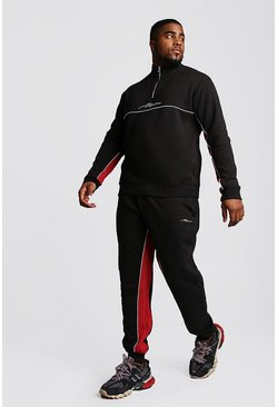 Black Big And Tall Half Zip Contrast Panel Tracksuit