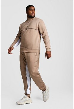 Taupe Big And Tall Half Zip Contrast Panel Tracksuit