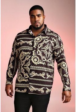 Herr Black Big And Tall Long Sleeve Baroque Print Shirt