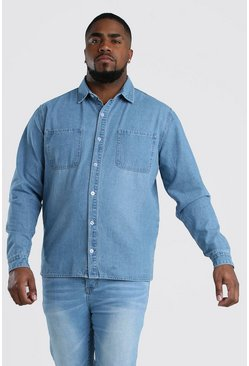 Camicia Big And Tall in denim regular fit, Azzurro chiaro