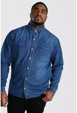 Camicia Big And Tall in denim regular fit, Blu medio