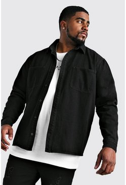 Black Big And Tall Regular Fit Denim Shirt