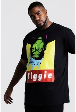 T-shirt Big And Tall ufficiale Upside Down Biggie, Nero, Maschio
