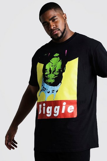 Mens Black Big And Tall Upside Down Biggie License T-Shirt