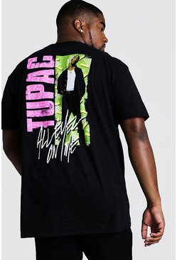 Black Big And Tall 90's Tupac Back Print License T-Shirt