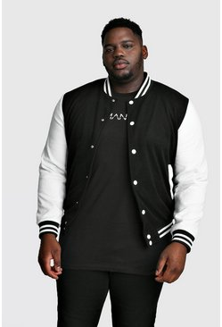 Chaqueta bomber universitaria Big And Tall, Negro, Hombre
