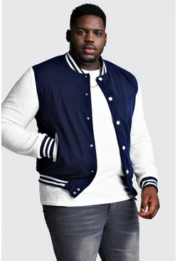 Chaqueta bomber universitaria Big And Tall, Azul marino, Hombre