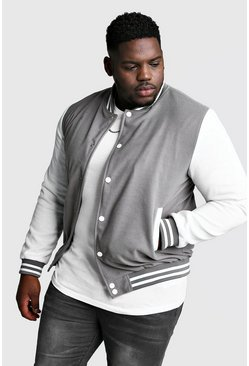 Mens Grey Big And Tall Varsity Bomber Jacket