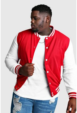 Mens Red Big And Tall Varsity Bomber Jacket