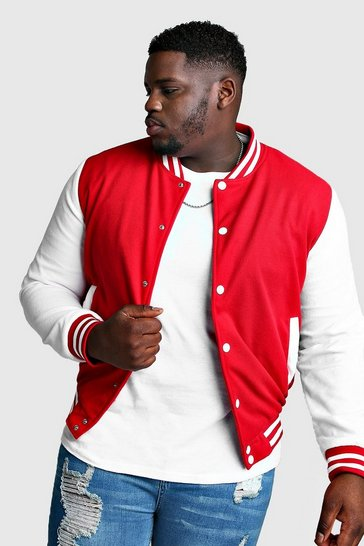 Red Big And Tall Varsity Bomber Jacket