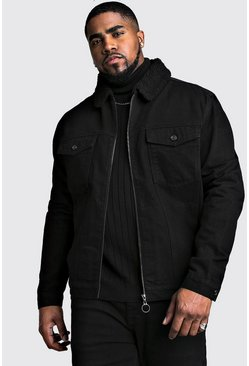 Mens Black Big And Tall Zip Through Borg Collar Denim Jacket