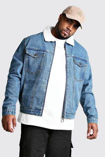 Mid blue Big And Tall Zip Through Borg Collar Denim Jacket