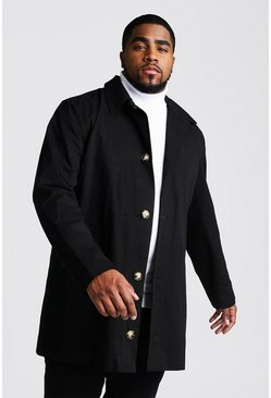 Mens Black Big And Tall Single Breasted Trench Coat