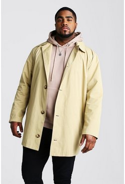 Mens Stone Big And Tall Single Breasted Trench Coat