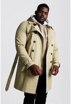 Mens Stone Big And Tall Double Breasted Trench Coat