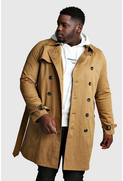 Mens Tobacco Big And Tall Double Breasted Trench Coat