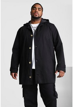 Black Big And Tall Single Breasted Hooded Trench Coat