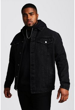 Chaqueta western en denim Big And Tall, Negro, Hombre