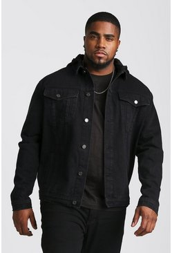 Mens Black Big And Tall Denim Jacket With Removable Hood