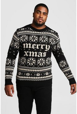 Pullover Natale Big And Tall metallizzato oro, Nero, Maschio