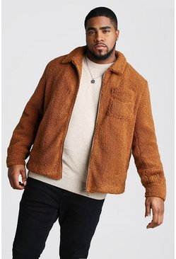 Mens Tan Big And Tall Borg Coach Jacket