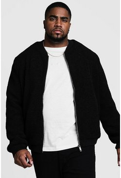 Chaqueta bomber de borreguillo Big And Tall, Negro