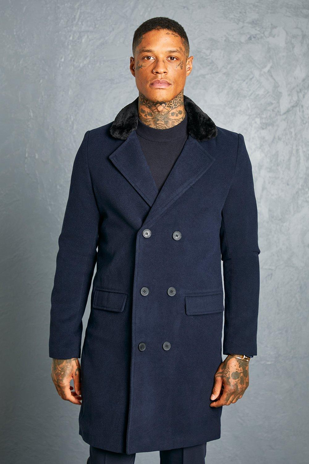 60s 70s Men's Jackets & Sweaters Mens Recycled Double Breasted Faux Fur Overcoat - Navy $95.00 AT vintagedancer.com