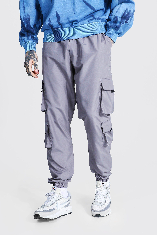mens grey original man pocket buckle cargo trouser, grey