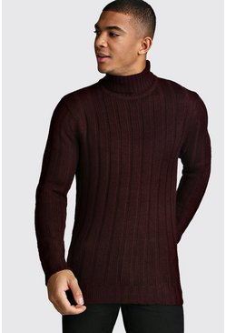 Mens Oxblood Ribbed Roll Neck Knitted Jumper