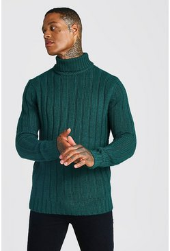 Mens Green Ribbed Roll Neck Knitted Jumper