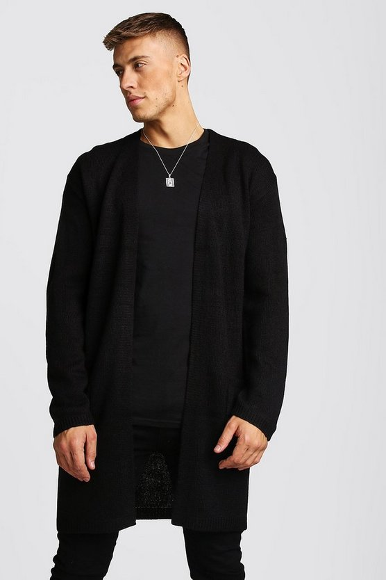 Mens Black Longline Edge To Edge Knitted Cardigan