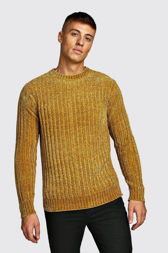 Mustard Ribbed Chenille Knitted Jumper