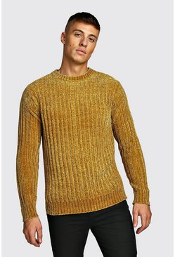 Mens Mustard Ribbed Chenille Knitted Jumper