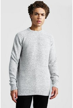 Mens Ecru Crew Neck Chenille Jumper