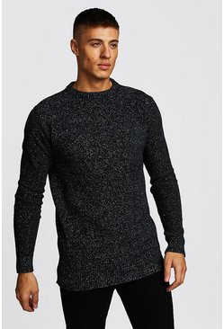 Mens Charcoal Crew Neck Chenille Jumper