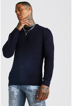 Mens Navy Waffle Stitch Knitted Crew Neck Jumper