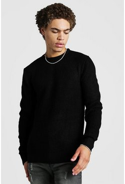 Mens Black Waffle Stitch Knitted Crew Neck Jumper