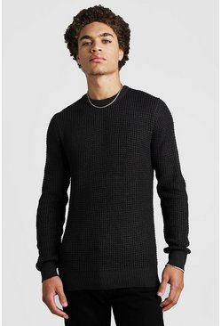 Mens Grey Waffle Stitch Knitted Crew Neck