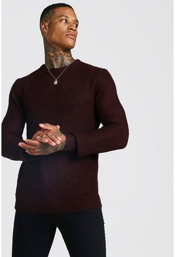 Mens Oxblood Waffle Stitch Knitted Crew Neck Jumper