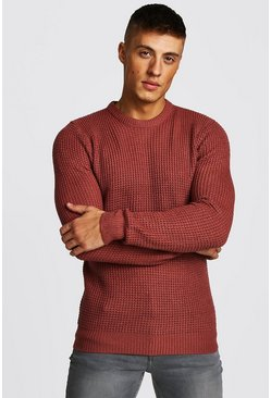 Mens Pink Waffle Stitch Knitted Crew Neck Jumper