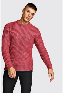 Pink Drop Shoulder Fisherman Stitch Knitted Jumper