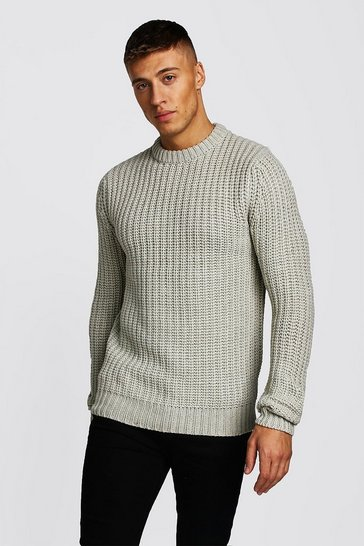 Cream Drop Shoulder Fisherman Stitch Knitted Jumper