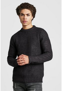 Herr Charcoal Drop Shoulder Fisherman Knitted Jumper